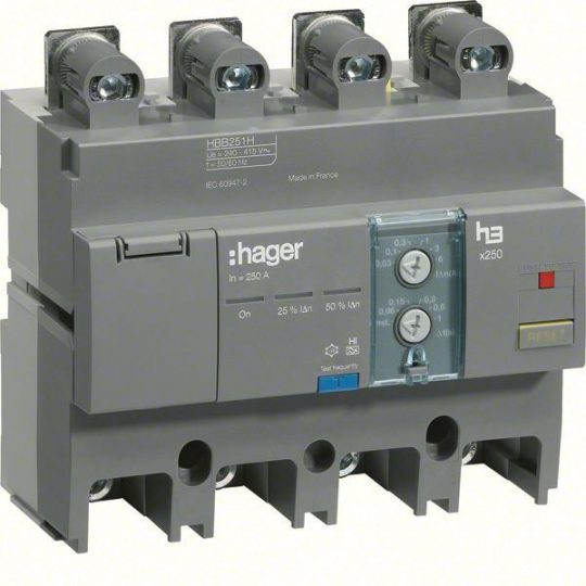 Hager HBB251H x250 áramvédő-kapcsoló blokk, 4P; 0,03-6A; 0,06-1s; 250A