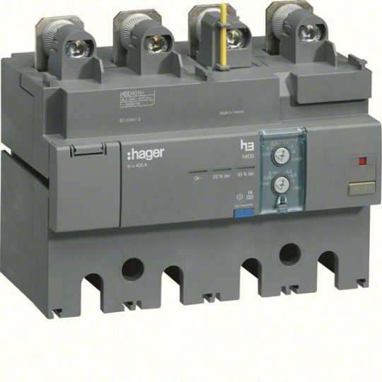 Hager HBD401H h630 áramvédő-kapcsoló blokk, 4P; 0,03-6A; 0,06-1s; 400A