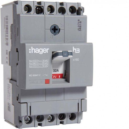 Hager HDA032L x160 TM kompakt megszakító, 3P, 32A, 18kA