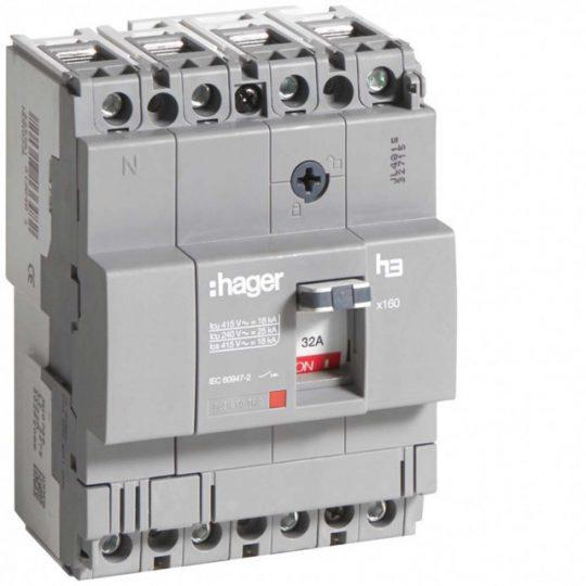 Hager HDA033L x160 TM kompakt megszakító, 4P, 32A, 18kA