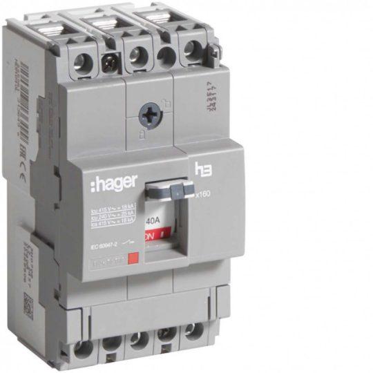 Hager HDA040L x160 TM kompakt megszakító, 3P, 40A, 18kA