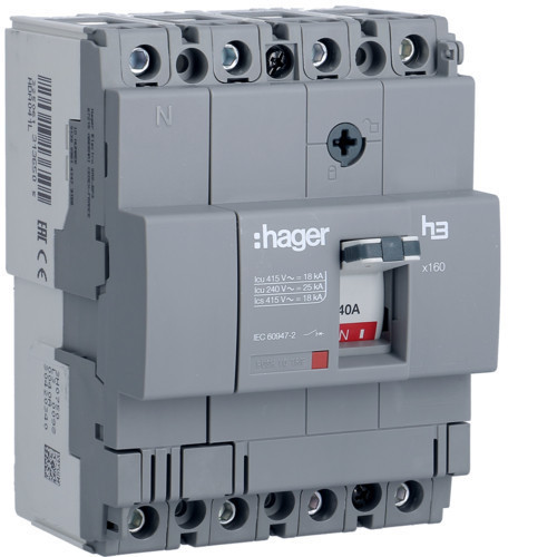 Hager HDA041L x160 TM kompakt megszakító, 4P, 40A, 18kA