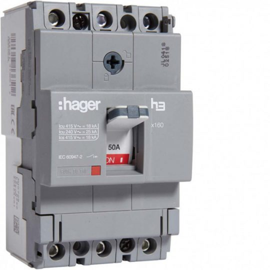 Hager HDA050L x160 TM kompakt megszakító, 3P, 50A, 18kA