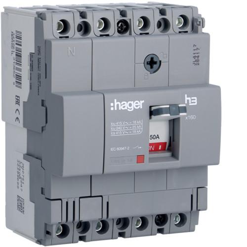 Hager HDA051L x160 TM kompakt megszakító, 4P, 50A, 18kA
