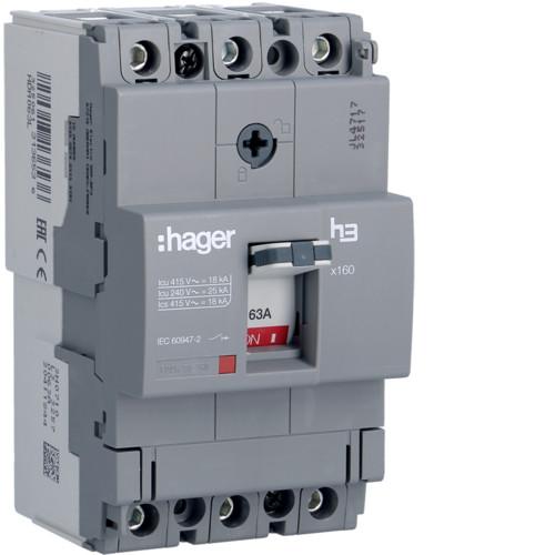Hager HDA063L x160 TM kompakt megszakító, 3P, 63A, 18kA