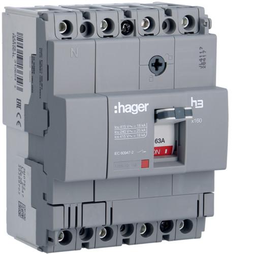 Hager HDA064L x160 TM kompakt megszakító, 4P, 63A, 18kA