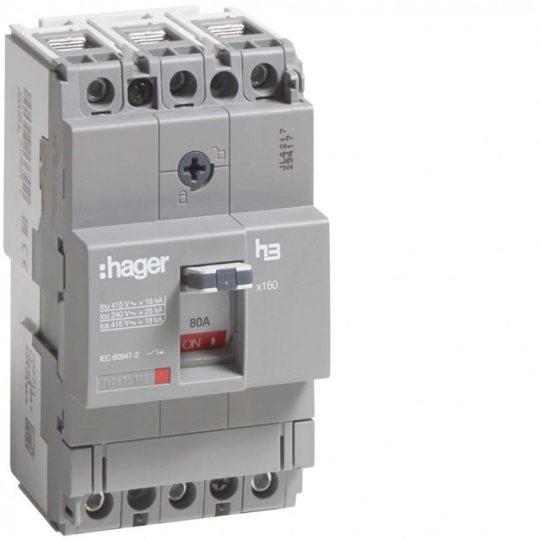 Hager HDA080L x160 TM kompakt megszakító, 3P, 80A, 18kA