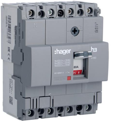 Hager HDA081L x160 TM kompakt megszakító, 4P, 80A, 18kA