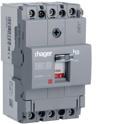 Hager HDA100L x160 TM kompakt megszakító, 3P, 100A, 18kA