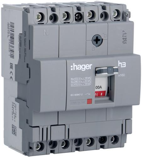 Hager HDA101L x160 TM kompakt megszakító, 4P, 100A, 18kA