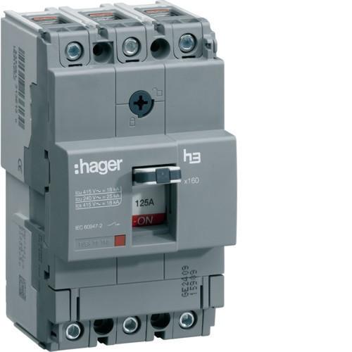 Hager HDA125L x160 TM kompakt megszakító, 3P, 125A, 18kA