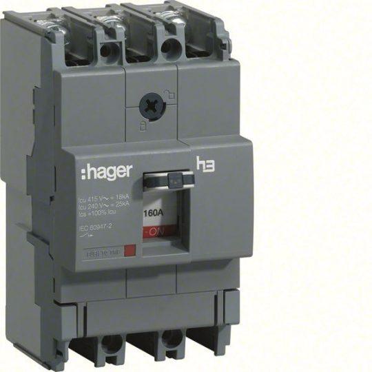 Hager HDA160L x160 TM kompakt megszakító, 3P, 160A, 18kA