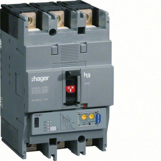 Hager HEC125H h250 LSI kompakt megszakító, 3P, 125A, 70kA
