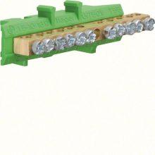 N/PE sín 5x16mm2+6x10mm2, L=73mm, talpra szerelt, zöld (Hager KM11E)