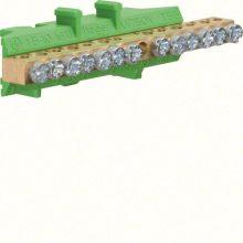 Hager Golf KM13E N/PE sín 6x16mm2+7x10mm2, L=85mm, talpra szerelt, zöld (Hager KM13E)