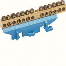 N/PE sín 6x16mm2+7x10mm2, L=85mm, talpra szerelt, kék (Hager KM13N)