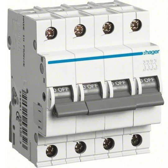Hager MC400, Kismegszakító 4P,0,5A, C karakterisztika, 6 kA (Hager MC400)