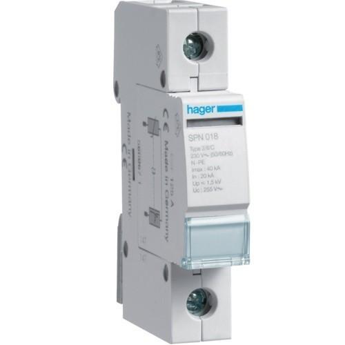 Hager SPN118, túlfeszültség levezető (cserélhető betétes) 1 pólus, C (T2) fokozatú, távjelző nélküli, 230/400 V/40kA (Hager SPN118)