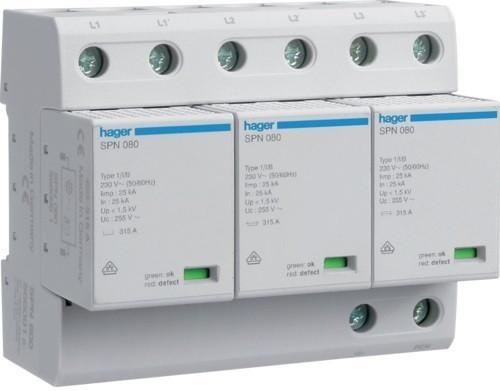 Hager SPN800, túlfeszültség levezető (cserélhető betétes) 3 pólus, B+C (T1+T2) fokozatú, távjelző nélküli, 255V/75kA (Hager SPN800)