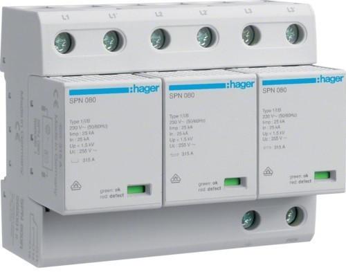Hager SPN800R, túlfeszültség levezető (cserélhető betétes) 3 pólus, B+C (T1+T2) fokozatú, távjelzővel, 255V/75kA (Hager SPN800R)