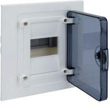 Műanyag kiselosztó, 4 modul, 1 sor, füstszínű ajtóval, IP40, süllyesztett, Golf (Hager VF104TD)