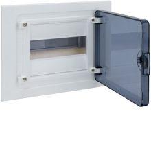 Műanyag kiselosztó, 8 modul, 1 sor, füstszínű ajtóval, IP40, süllyesztett, Golf (Hager VF108TD)