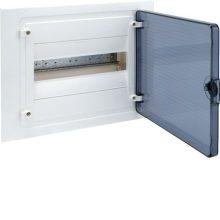 Műanyag kiselosztó, 12 modul, 1 sor, füstszínű ajtóval, IP40, süllyesztett, Golf (Hager VF112TD)