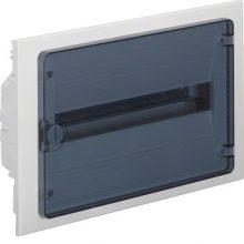 Műanyag kiselosztó, 18 modul, 1 sor, füstszínű ajtóval, IP40, süllyesztett, Golf (Hager VF118TD)