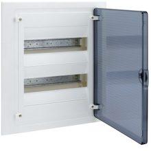 Műanyag kiselosztó, 24 modul, 2 sor, füstszínű ajtóval, IP40, süllyesztett, Golf (Hager VF212TD)