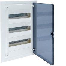 Műanyag kiselosztó, 36 modul, 3 sor, füstszínű ajtóval, IP40, süllyesztett, Golf (Hager VF312TD)