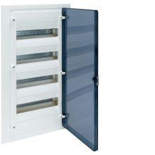 Műanyag kiselosztó, 48 modul, 4 sor, füstszínű ajtóval, IP40, süllyesztett, Golf (Hager VF412TD)