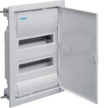 Kiselosztó 24 modul, 2 sor, teli fém ajtós, műanyag váz, IP30, gipszkartonba süllyesztett, Volta (Hager VH24NE)