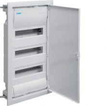Kiselosztó 36 modul, 3 sor, teli fém ajtós, műanyag váz, IP30, gipszkartonba süllyesztett, Volta (Hager VH36NE)