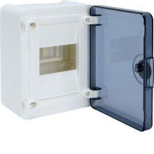 Műanyag kiselosztó, 4 modul, 1 sor, füstszínű ajtóval, IP40, falon kívüli, Golf (Hager VS104TD)
