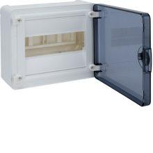 Műanyag kiselosztó, 8 modul, 1 sor, füstszínű ajtóval, IP40, falon kívüli, Golf (Hager VS108TD)