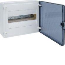 Műanyag kiselosztó, 12 modul, 1 sor, füstszínű ajtóval, IP40, falon kívüli, Golf (Hager VS112TD)