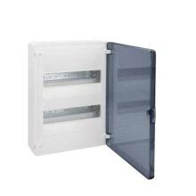 Műanyag kiselosztó, 24 modul, 2 sor, füstszínű ajtóval, IP40, falon kívüli, Golf (Hager VS212TD)
