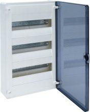 Műanyag kiselosztó, 36 modul, 3 sor, füstszínű ajtóval, IP40, falon kívüli, Golf (Hager VS312TD)