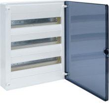 Műanyag kiselosztó, 54 modul, 3 sor, füstszínű ajtóval, IP40, falon kívüli, Golf (Hager VS318TD)