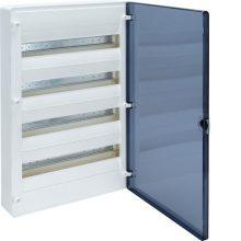 Műanyag kiselosztó, 48 modul, 4 sor, füstszínű ajtóval, IP40, falon kívüli, Golf (Hager VS412TD)
