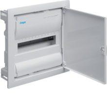 Kiselosztó 12 modul, 1 sor, teli fém ajtós, műanyag váz, IP30, süllyesztett, Volta (Hager VU12NE)