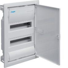 Kiselosztó 24 modul, 2 sor, teli fém ajtós, műanyag váz, IP30, süllyesztett, Volta (Hager VU24NE)