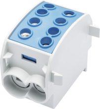 Leipold, 080310-1-3, fővezetéki leágazó sorkapocs HLAK 70/50 1/2 kék, 2x70 + 2x50 mm2, sorolható, alumínium és réz vezetékhez (Leipold 080310-1-3)