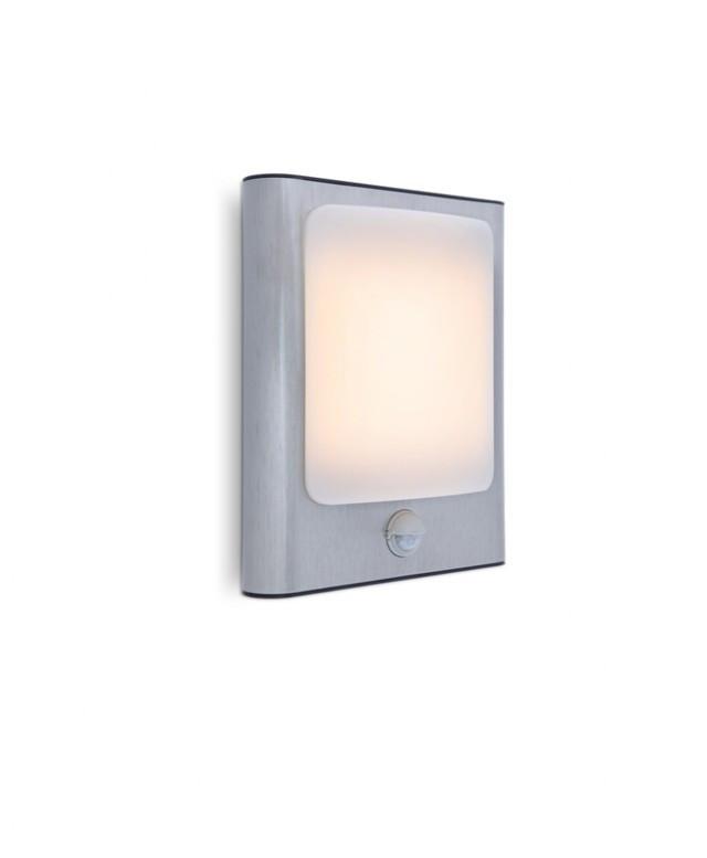 Lutec 5033002001 FACE, kültéri, mozgásérzékelős fali lámpa, 13W, IP44 védettséggel, melegfehér ( 3000K ), 800 lm, 5 év garanciával, LED panel, rozsdamentes acél / opál színben ( LUTEC 5033002001 )