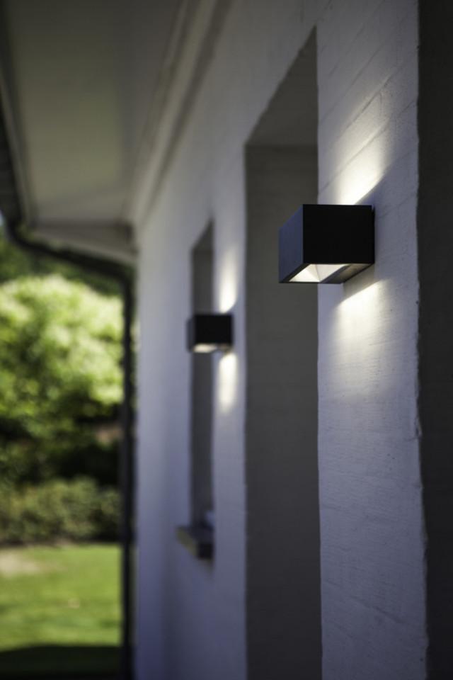 Lutec 5189101118 GEMINI, kültéri, fali lámpa, 20W, IP54 védettséggel, nappali fény (semleges fehér) ( 4000K ), 1230 lm, 5 év garanciával, LED panel, sötétszürke / átlátszó színben ( LUTEC 5189101118 )