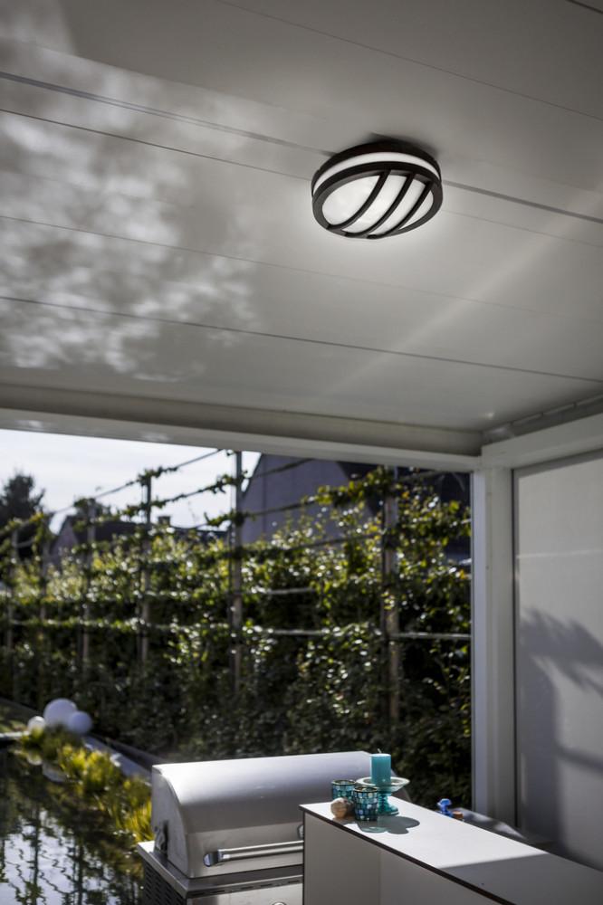 Lutec 6336101118 TITAN, kültéri, mennyezeti lámpa 60W, IP54 védettséggel, 5 év garanciával, E27, sötétszürke / opál színben ( LUTEC 6336101118 )