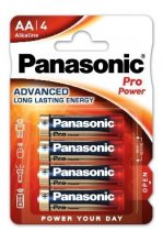 Panasonic Pro Power 1,5 V LR6 ( AA ) alkáli, tartós ceruza elem, nagy energiaigényű készülékekhez. 4 db / csomag ( ADVANCED LR6PPG4BP )