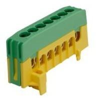 Kalapsínre rögzíthető sorkapocs, 7x16mm2 zöld/sárga, csavaros csatlakozás, PE7-F2 (Pollmann 2020267)