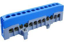 Kalapsínre rögzíthető sorkapocs, 12x16mm2 kék, csavaros csatlakozás, N12-F2 (Pollmann 2020269)