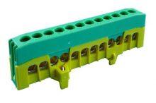 Kalapsínre rögzíthető sorkapocs, 12x16mm2 zöld/sárga, csavaros csatlakozás, PE12-F2 (Pollmann 2020270)